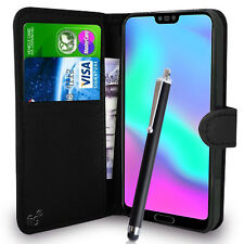 Black Wallet Case PU Leather Book Cover For Huawei Honor 10 Mobile Phone