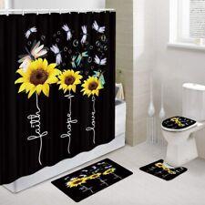 3D Sunflower Black Shower Curtain Bathroom Bath Mats Toilet Lid Cover Rugs Sets