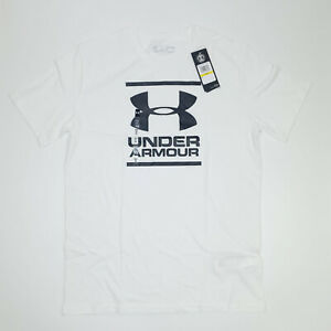Under Armour White Loose Fitted Heat Gear Tee T-shirt Size M Logo Gym Fitness