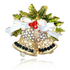 Ribbon Dangling Clapper Brooch Pin Christmas Holiday Chime Bell White Bow