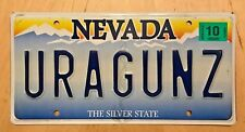 "NEVADA VANITY LICENSE PLATE "" URA GUN Z ""  YOU ARE A GUNS GUNZ RIFLE  PISTOL"