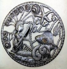 """Mermaid in the Sea Steel Oil Drum Wall Art Caribbean Art Haitian Metal Craft 24"""""""