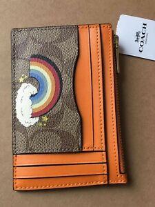 NWT Coach C1656 Xl Mini Skinny ID Case in Signature Canvas with Rainbow