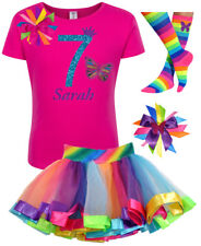 Bubblegum Divas 7th Birthday Girl Butterfly Shirt Rainbow Outfit Personalized 7