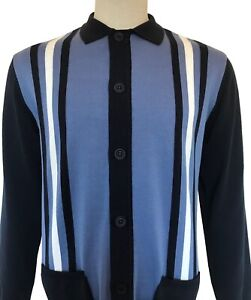Ska & Soul Stripe Front Cardigan SS/2307 Navy