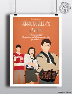 FERRIS BUELLER -  Minimalist 80's Poster by Posteritty Design John Hughes