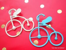 """LOT OF 2 WHIMSICAL BICYCLE BIKES VINTAGE METAL ENAMEL PINS 2"""" BROOCHES GIFTS"""