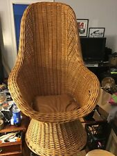 """Vintage Natural Wicker Rattan Cocoon Basket Weave Chair 36"""" Has Some Damage"""