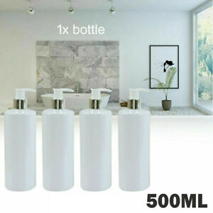 White Lotion Pump Bottle 500ml Cylindrical Pet Plastic Matt