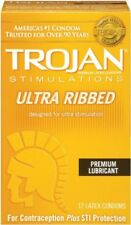 Trojan Ultra Ribbed Lubricated Latex Condoms for Ultra Stimulation 12 Count