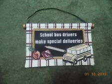 "School bus drivers make special deliveries Tapestry 12""X18"""