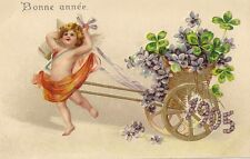 CARTE POSTALE POST CARD FANTAISIE GAUFREE BONNE ANNEE 1905 ANGE TREFLE FLEUR