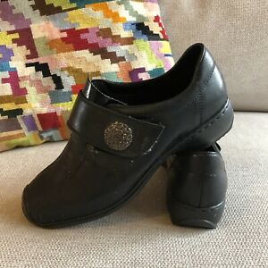 Rieker Anti Stress Black Leather Comfort Shoes Square Toe Hook & Loop Size 36
