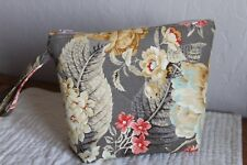 HANDMADE MAKEUP BAG QUILTED COTTON UPHOLSTERY FLORAL TANS/CREAMS/AQUA BLUE/ORANG