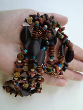 WOODEN TRIBAL BEADED NECKLACE SLICE BEADS ROUND BROWN & TURQUOISE, PARTY PROM