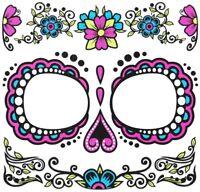 Dia de los Muertos Day of Dead Sugar Skull Temporary Face Tattoo Women's Costume