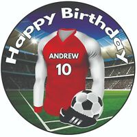 "Personalised Football Shirt 8"" Round Icing Cake Topper Birthday Arsenal Colours"