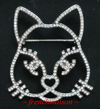 AUTHENTIC CHANEL CC Cat Choupette Lagerfeld BROOCH PIN Silver Crystal HUGE Rare