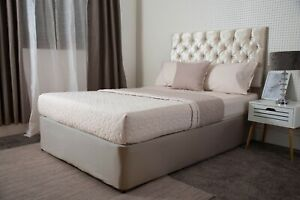 Jersey Cotton Divan Bed Base Wrap Valance in Linen Beige to Fit Upto 45cm Base