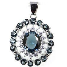 Ravishing London Blue Topaz White CZ Ladies Present Silver Pendant