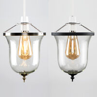 Modern Glass Cloche Easy Fit Ceiling Pendant Light Shade LED Lampshade + Bulb