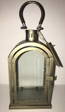 """STERNO HOME Paradise 14"""" ANTIQUE BRASS Lantern F/ LED Candles In / Outdoors"""