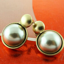 FSA551 GENUINE 18K YELLOW GF GOLD CLASSIC ANTIQUE DESIGN PEARL STUD EARRINGS