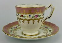 Aynsley #2466 Pink Rose Gilt Floral Bone China Demitasse Tea Cup & Saucer