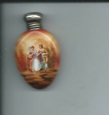 AD-012 - Exquisite Glass Perfume Bottle w Sterling Silver Cap Hand Painted Nice