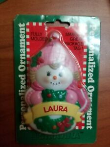 Vintage 2001 Stravina Personalized Ornament. LAURA (Snowgirl) New.  3.75 in.