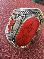 Afghan Hand cuff Adjustable Stone Vintage Bangle Tribal Fashion Statement