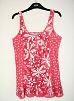 M&S Top Pink Floral in Cotton Jersey Slight Flare Size 12 Brand New