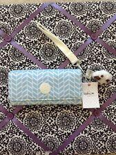 Kipling Trifold wallet Style Chevron Pool Blue Print New with Monkey Maylei