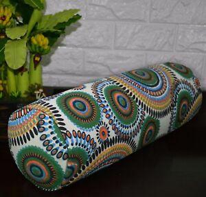 af255g Green Blue FLower Cotton Canvas Yoga Bolster Cushion Cover Custom Size