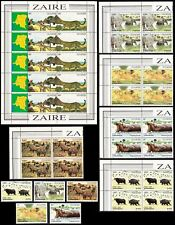 Zaire Wild Animals Sheetlet+2 sets SG#1120-1126 SC#1078-1084a MI#779-785 CV£80+