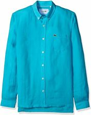 Lacoste Mens Shirt Atoll Blue Size 42 US Large L Woven Button Down $145 730