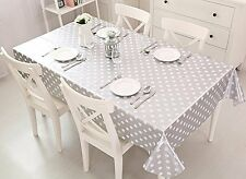 "Vinyl pvc wipe clean tablecloth cover NEW silver dot 55"" x 55"" 140cm x 140cm"