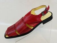Bouchon Mens Sandals Red Genuine Ostrich Leather Cut Out Open Back Shoes Size 10