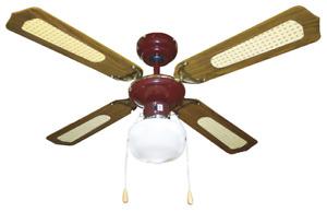 Ventilatore da Soffitto a 4 Pale in legno 107cm con Luce Inversione di Rotazione