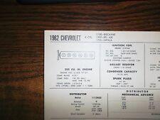 1962 Chevrolet Series 1100 1500 1700 235 CI L6 SUN Tune Up Chart Excellent Shape
