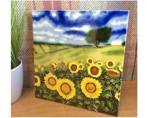 "** SLIGHT SECOND **Benaya Sunflower Field Square Tile 8"" x 8"" / Trivet BAC520814"