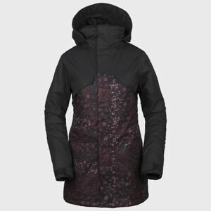 NWT WOMENS VOLCOM VAULT 3-IN-1 JACKET $280 S Black Floral Print hooded