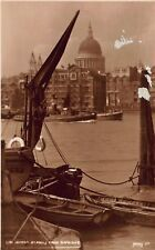 Vtg RPPC POSTCARD ST PAULS CATHEDRAL RIVER BOATS SAIL TUG LONDON ENGLAND Antique