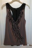 Bebe Oversized Tank Top Sequin/Beaded Silk Sleeveless Top Size M