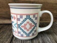 Otagiri Japan Fiji Graphics Coffee Mug Cup Southwest Design Blue Pink Purple