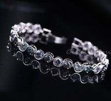 Silver Mystic Rainbow Topaz S Shape 11ct Tennis Bracelet adjustable 7-8 Inch