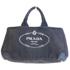 de12a0aa4aeda0 Authentic PRADA MILANO Canapa Tote Hand Bag Canvas Leather Black Italy  61EQ370