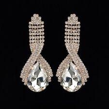Waterfall Trop Crystal Dangle Earrings Vintage Retro Glam 1920s 50s Gold