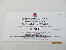 England v Wales. Rugby Union. 2011. Function Tickets.