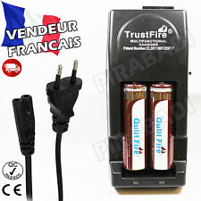 2 PILES ACCUS RECHARGEABLE 18650 3.7V 4500mAh + CHARGEUR TR-001 TRUSTFIRE RAPIDE
